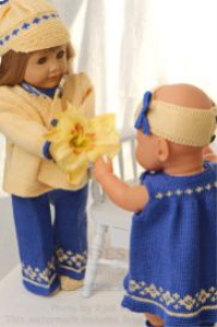 dollknittingpattern 0133d klara - summersuit, summerdress, jacket, cap, hairband, pants and shoes-(english)