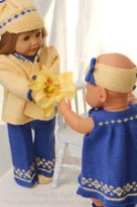 dollknittingpattern 0133d klara - summersuit, summerdress, jacket, cap, hairband, pants and shoes-(english)