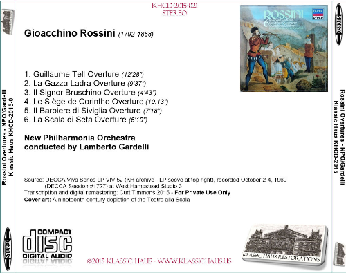First Additional product image for - Rossini: 6 Famous Overtures - New Philharmonia Orchestra/Lamberto Gardelli