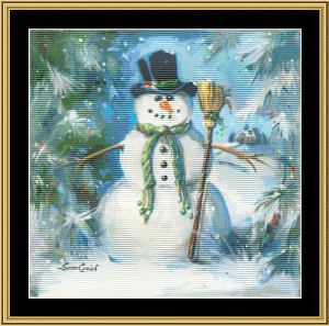 Sweeping Snowman | Crafting | Cross-Stitch | Wall Hangings