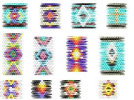 Brick Stitch Cylinder/Tube Delica Seed Beading Earring 12 Patterns | Other Files | Arts and Crafts