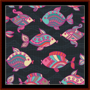 Abstract Fish I cross stitch pattern by Cross Stitch Collectibles | Crafting | Cross-Stitch | Wall Hangings