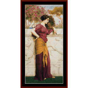 The Peacock Fan, 1912 - Godward cross stitch pattern by Cross Stitch Collectibles | Crafting | Cross-Stitch | Wall Hangings