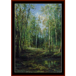 Birch Grove, 1875 - Shishkin cross stitch pattern by Cross Stitch Collectibles | Crafting | Cross-Stitch | Wall Hangings