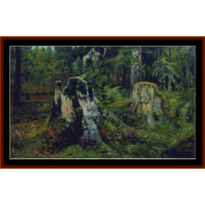 Landscape with Stump, 1892 - Shishkin cross stitch pattern by Cross Stitch Collectibles | Crafting | Cross-Stitch | Wall Hangings