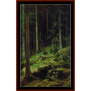 thicket, 1881 - shishkin cross stitch pattern by cross stitch collectibles