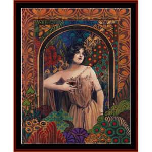 Walla Walla Wine Woman - Vintage Poster cross stitch pattern by Cross Stitch Collectibles | Crafting | Cross-Stitch | Wall Hangings