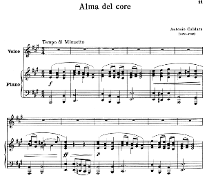 alma del core, high voice in a major, g.caccinii. for soprano, tenor. ed. schirmer, pd.