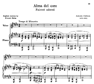 Alma del core, A. Caldara, Low Voice in E minor, Ed. Schirmer (PD). 3pp | eBooks | Sheet Music