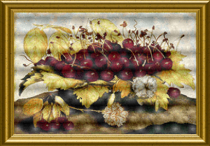 a dish of cherries and carnation cross stitch chart by the art of stitch