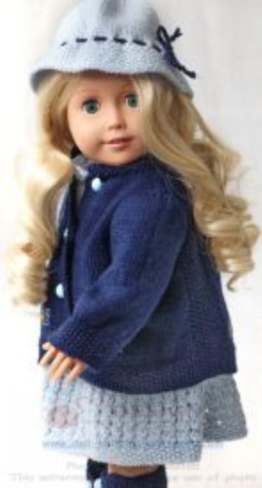 First Additional product image for - DollKnittingPatterns 0136D AURORA Robe, Culotte, Veste, Chapeau et Chaussures-(Francais)