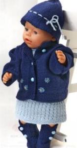 dollknittingpattern 0136d aurora  jurk, broekje, vestje, hoedje en schoentjes-(nederlands)