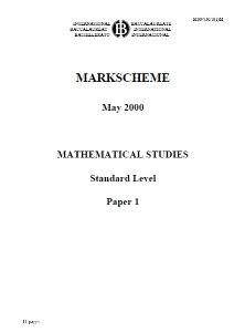 markscheme maths studies paper 1 may 2000
