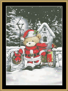 Santa Bear | Crafting | Cross-Stitch | Wall Hangings
