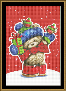 Holiday Bear | Crafting | Cross-Stitch | Wall Hangings