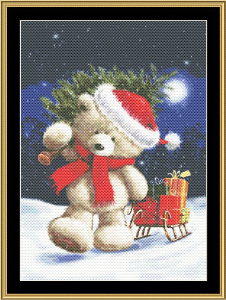 Santa Bear V | Crafting | Cross-Stitch | Wall Hangings