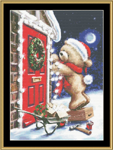 Holiday Bear Iii | Crafting | Cross-Stitch | Wall Hangings