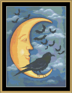 Moon Crow | Crafting | Cross-Stitch | Wall Hangings