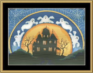 Haunted House | Crafting | Cross-Stitch | Wall Hangings