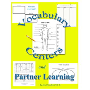 vocabulary center and partner learning: pictures, activities, forms
