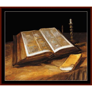 Still Life with Bible - Van Gogh cross stitch pattern by Cross Stitch Collectibles | Crafting | Cross-Stitch | Wall Hangings