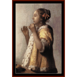 Girl with Pearl Necklace - Vermeer cross stitch pattern by Cross Stitch Collectibles | Crafting | Cross-Stitch | Wall Hangings