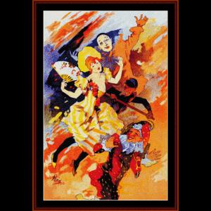 La Pantomimie - Cheret cross stitch pattern by Cross Stitch Collectibles | Crafting | Cross-Stitch | Wall Hangings