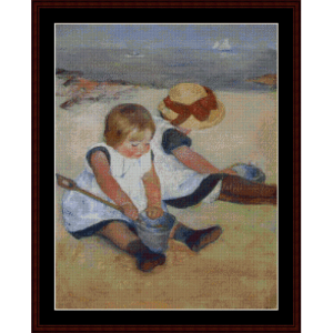Children on the Beach - Cassatt cross stitch pattern by Cross Stitch Collectibles | Crafting | Cross-Stitch | Wall Hangings