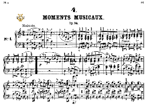 Moment Musical Op.94 No.1 in C Major, F.Schubert, Ed.Breitkopf, M.Pauer (1928). Tablet Edition (A5 Landscape), 6pp | eBooks | Sheet Music