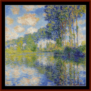 poplars on the epte ii - monet cross stitch pattern by cross stitch collectibles