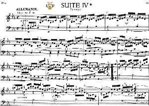 french suite no.4 in e-flat major, bwv 815, j. s. bach, bischoff urtext, ed. breitkopf reprint kalmus, tablet edition, a5 (landscape), 11pp