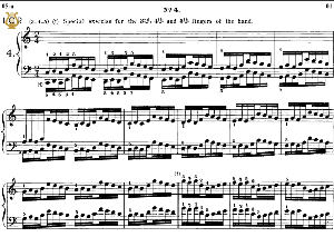 Lesson No. 4 (3rd, 4th, 5th fingers of the L.H)., The Virtuoso Pianist, Part 1, Ch.Hanon, Ed. Schirmer (PD), Tablet Edition, A5 Landscape, 2pp   eBooks   Sheet Music