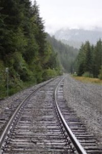 railroad tracks cascade mountains