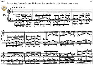 Lesson No.35 (Turning the thumb under 5th finger), The Virtuoso Pianist, Part 2, Ch.Hanon, Ed. Schirmer (PD), Tablet Edition, A5 Landscape, 2pp | eBooks | Sheet Music