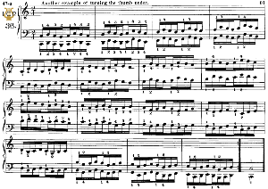 lesson no.36 (another example of turning the thumb under), the virtuoso pianist, part 2, ch.hanon, ed. schirmer (pd), tablet edition, a5 landscape,1p