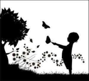 child butterfliestree silhouette