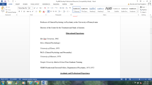PSY496 Develop Professional Resume | Documents and Forms | Research Papers