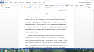 Language Essay | Documents and Forms | Research Papers