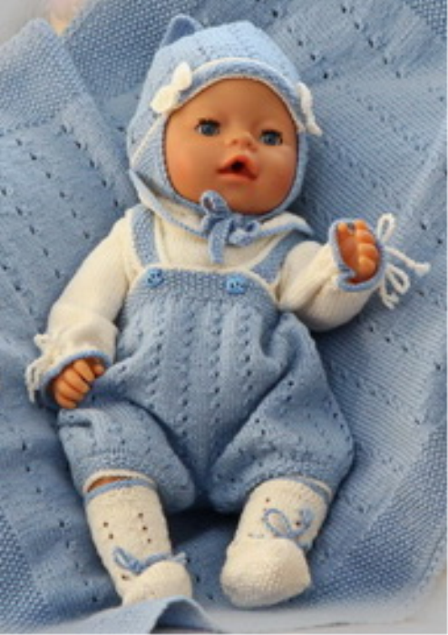 First Additional product image for - DollKnittingPatterns 0137D KASPER  Body, bukse, lue, sokker og teppe (pledd)-(Norsk)