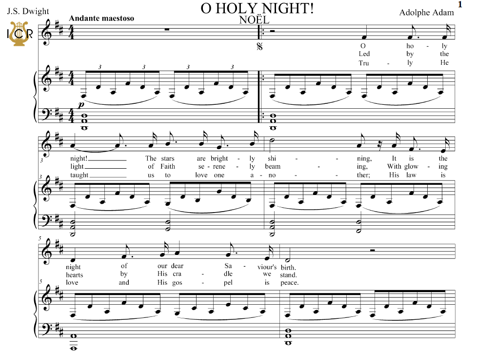O Holy Night (Noël) High Voice in D Major (Soprano/Tenor). English ...