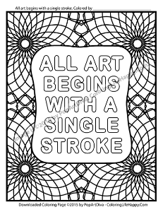 art begins with a single stroke coloring page
