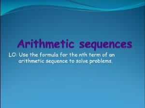 1.12 arithmetic sequences