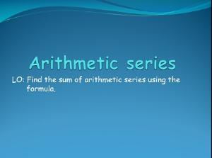 1.13 arithmetic series