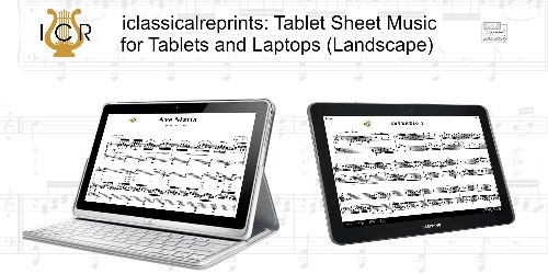 Second Additional product image for - Ave Maria, D. 839 in B-Flat Major (Soprano/Tenor). Latin Version. F.Schubert. Digital score after Peters Friedlaender Edition (PD).  A5 (landscape).Tablet Sheet Music Download.