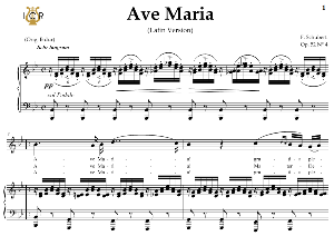 ave maria, d. 839 in b-flat major (soprano/tenor). latin version. f.schubert. digital score after peters friedlaender edition (pd).  a5 (landscape).tablet sheet music download.