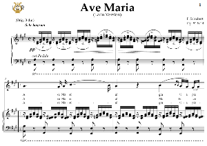 ave maria, d. 839 in a major (soprano/tenor). latin version. f.schubert. digital score after peters friedlaender edition (pd).  a5 (landscape).tablet sheet music download.