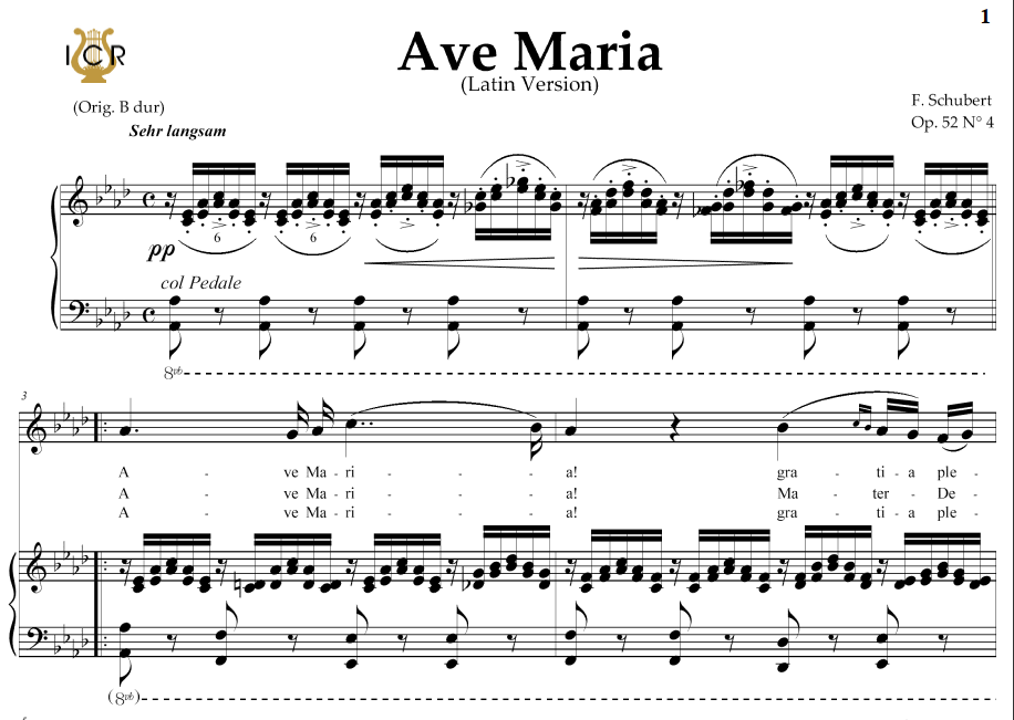 Piano ave maria sheet music piano : Ave Maria, D. 839 in A-Flat Major (Soprano/Mezzo/Baritone). Latin ...