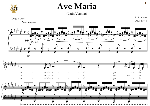 ave maria, d. 839 in f-sharp major (contralto/alto). latin version. f.schubert. digital score after peters friedlaender edition (pd).  a5 (landscape).tablet sheet music download.