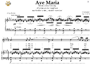 Ave Maria, D. 839 in A Major (Mezzo/Baritone). In German. F.Schubert. Digital score after Peters Friedlaender Edition (PD).  A5 (landscape).Tablet Sheet Music Download. | eBooks | Sheet Music