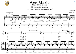 Ave Maria, D. 839 in F Major (Contralto/Countertenor). In German. F.Schubert. Digital score after Peters Friedlaender Edition (PD).  A5 (landscape).Tablet Sheet Music Download. | eBooks | Sheet Music